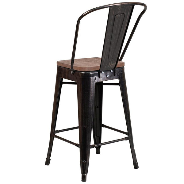 "Flash Furniture 24"" High Black-Antique Gold Metal Counter Height Stool with Back and Wood Seat - CH-31320-24GB-BQ-WD-GG"
