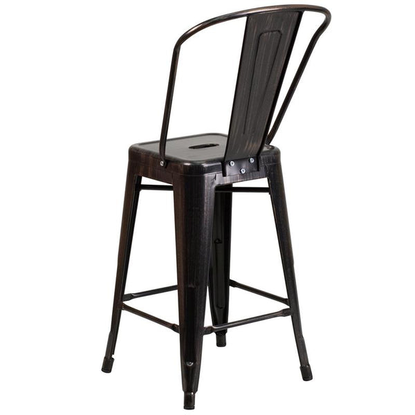 Flash Furniture 24'' High Black-Antique Gold Metal Indoor-Outdoor Counter Height Stool with Back - CH-31320-24GB-BQ-GG