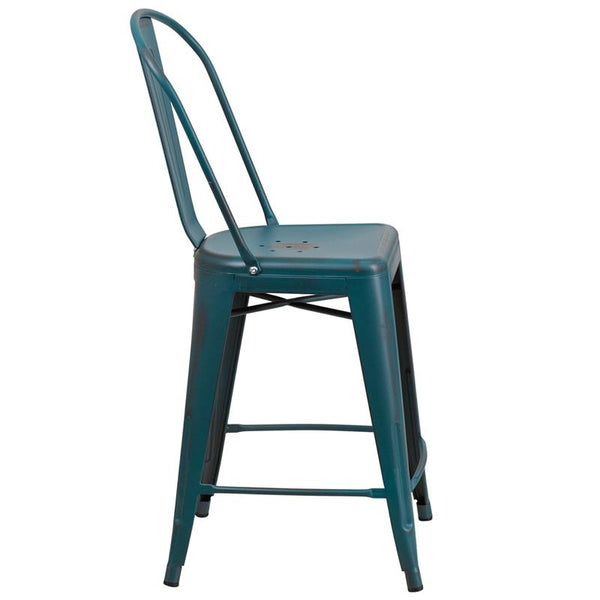 Flash Furniture 24'' High Distressed Kelly Blue-Teal Metal Indoor-Outdoor Counter Height Stool with Back - ET-3534-24-KB-GG