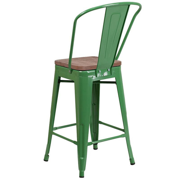 "Flash Furniture 24"" High Green Metal Counter Height Stool with Back and Wood Seat - CH-31320-24GB-GN-WD-GG"