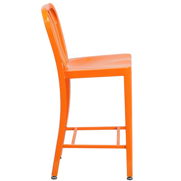 Flash Furniture 24'' High Orange Metal Indoor-Outdoor Counter Height Stool with Vertical Slat Back - CH-61200-24-OR-GG