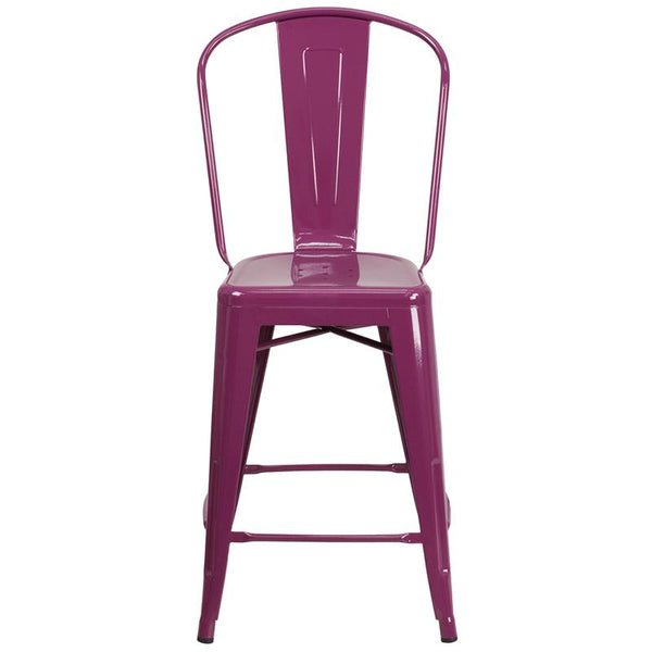 Flash Furniture 24'' High Purple Metal Indoor-Outdoor Counter Height Stool with Back - ET-3534-24-PUR-GG