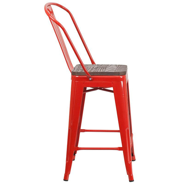 "Flash Furniture 24"" High Red Metal Counter Height Stool with Back and Wood Seat - CH-31320-24GB-RED-WD-GG"