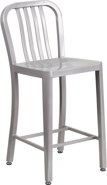 Flash Furniture 24'' High Silver Metal Indoor-Outdoor Counter Height Stool with Vertical Slat Back - CH-61200-24-SIL-GG