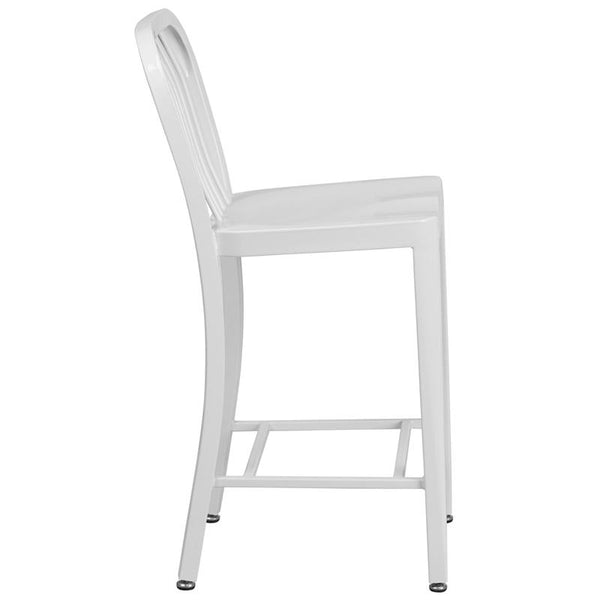 Flash Furniture 24'' High White Metal Indoor-Outdoor Counter Height Stool with Vertical Slat Back - CH-61200-24-WH-GG