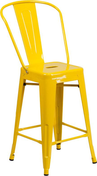 Flash Furniture 24'' High Yellow Metal Indoor-Outdoor Counter Height Stool with Back - CH-31320-24GB-YL-GG