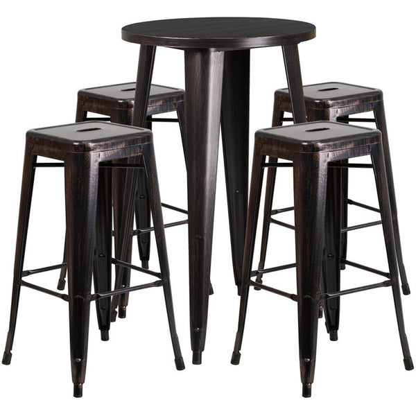 Flash Furniture 24'' Round Black-Antique Gold Metal Indoor-Outdoor Bar Table Set with 4 Square Seat Backless Stools - CH-51080BH-4-30SQST-BQ-GG