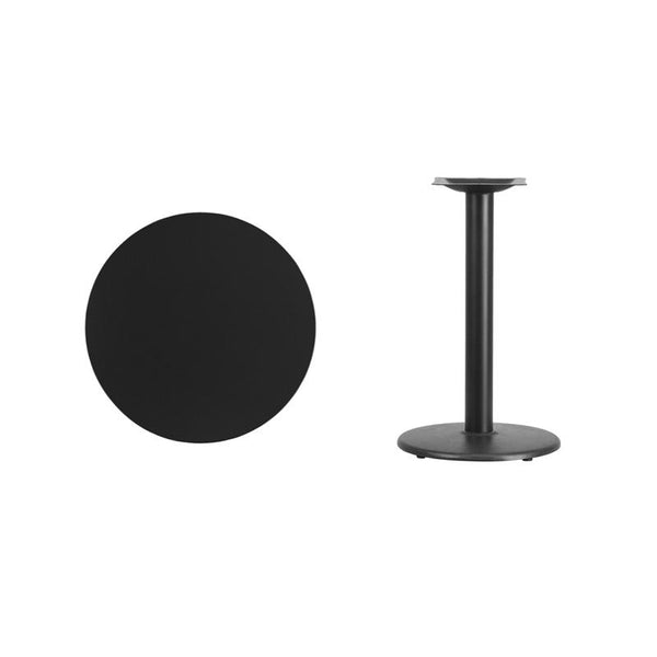 Flash Furniture 24'' Round Black Laminate Table Top with 18'' Round Table Height Base - XU-RD-24-BLKTB-TR18-GG