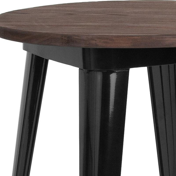"Flash Furniture 24"" Round Black Metal Indoor Bar Height Table with Walnut Rustic Wood Top - CH-51080-40M1-BK-GG"