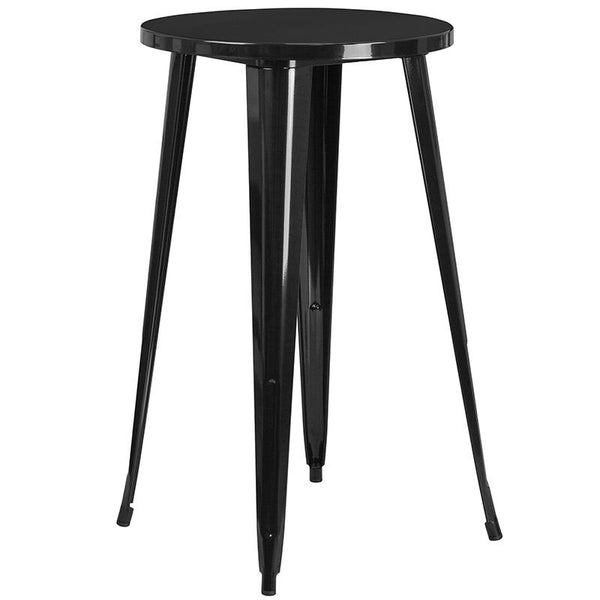 Flash Furniture 24'' Round Black Metal Indoor-Outdoor Bar Table Set with 2 Vertical Slat Back Stools - CH-51080BH-2-30VRT-BK-GG