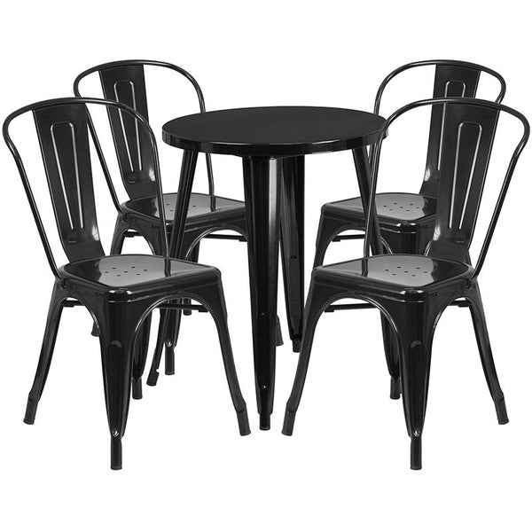 Flash Furniture 24'' Round Black Metal Indoor-Outdoor Table Set with 4 Cafe Chairs - CH-51080TH-4-18CAFE-BK-GG