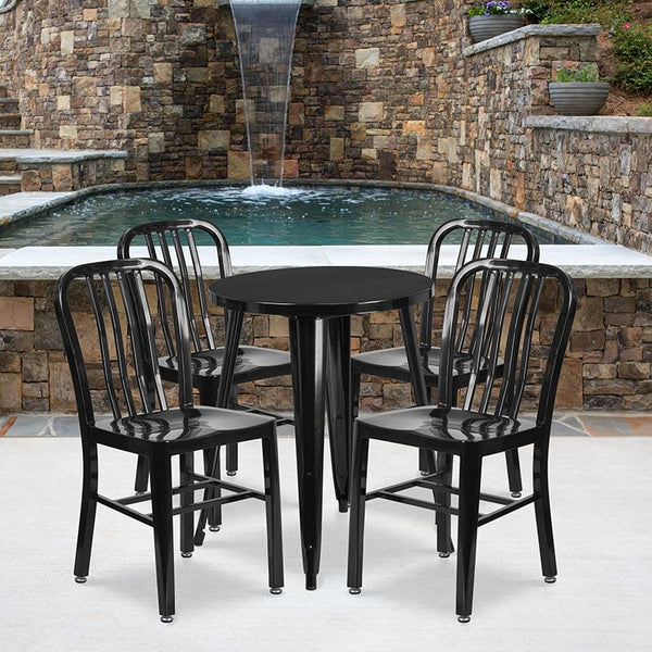 Flash Furniture 24'' Round Black Metal Indoor-Outdoor Table Set with 4 Vertical Slat Back Chairs - CH-51080TH-4-18VRT-BK-GG