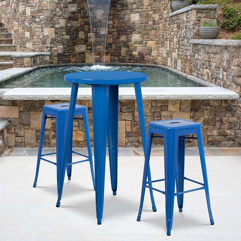 Flash Furniture 24'' Round Blue Metal Indoor-Outdoor Bar Table Set with 2 Square Seat Backless Stools - CH-51080BH-2-30SQST-BL-GG