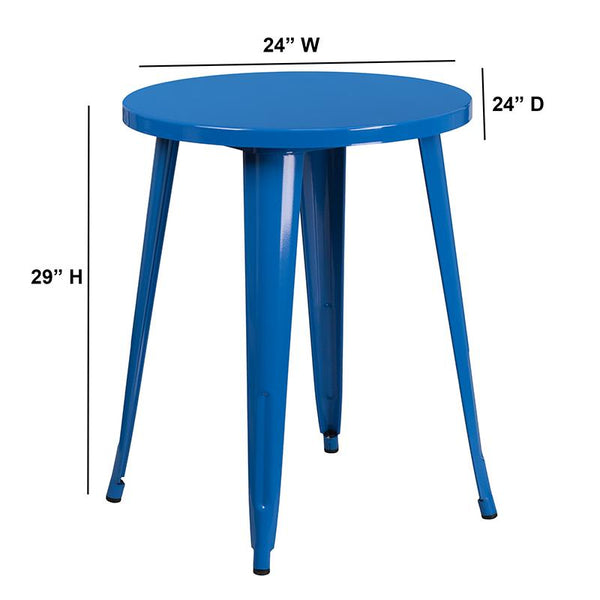 Flash Furniture 24'' Round Blue Metal Indoor-Outdoor Table - CH-51080-29-BL-GG