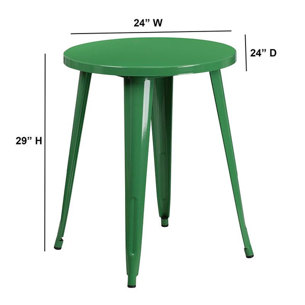 Flash Furniture 24'' Round Green Metal Indoor-Outdoor Table - CH-51080-29-GN-GG