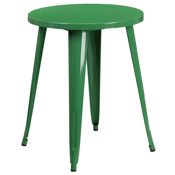 Flash Furniture 24'' Round Green Metal Indoor-Outdoor Table Set with 4 Arm Chairs - CH-51080TH-4-18ARM-GN-GG