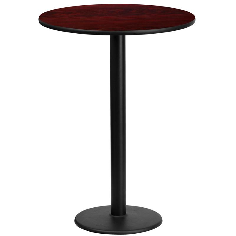 Flash Furniture 24'' Round Mahogany Laminate Table Top with 18'' Round Bar Height Table Base - XU-RD-24-MAHTB-TR18B-GG