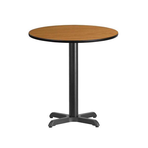 Flash Furniture 24'' Round Natural Laminate Table Top with 22'' x 22'' Table Height Base - XU-RD-24-NATTB-T2222-GG