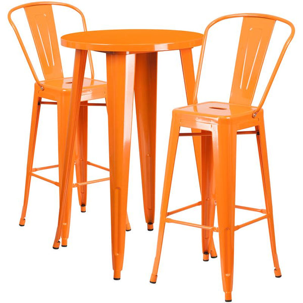 Flash Furniture 24'' Round Orange Metal Indoor-Outdoor Bar Table Set with 2 Cafe Stools - CH-51080BH-2-30CAFE-OR-GG