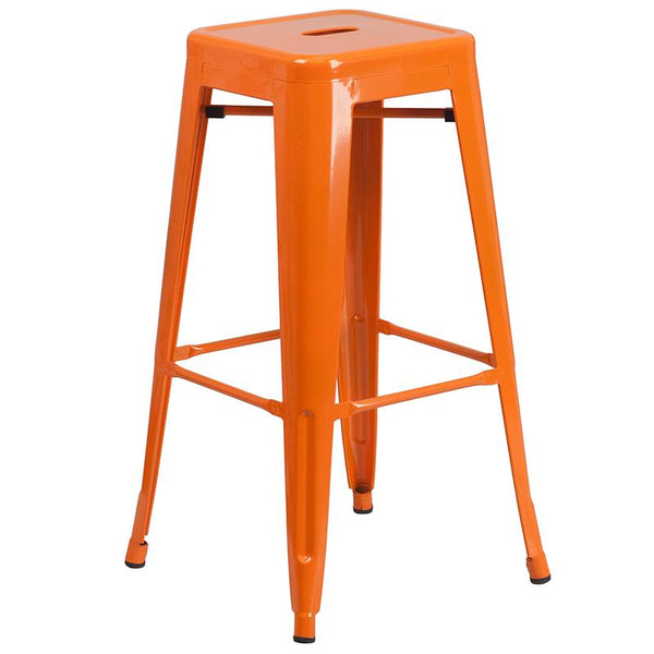 Flash Furniture 24'' Round Orange Metal Indoor-Outdoor Bar Table Set with 4 Square Seat Backless Stools - CH-51080BH-4-30SQST-OR-GG