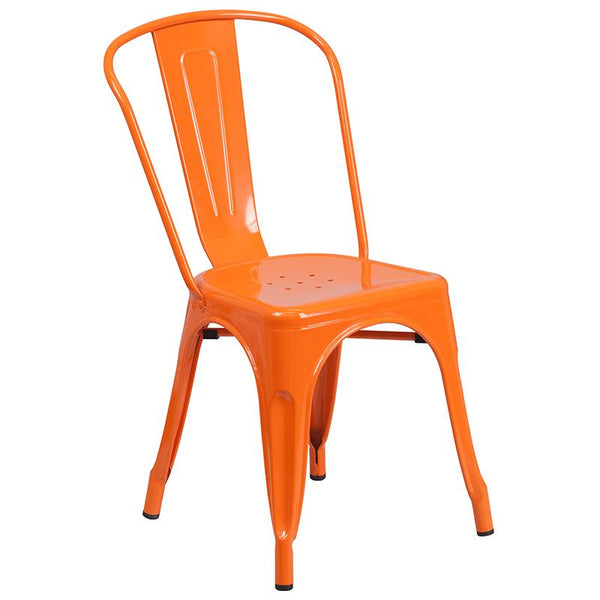 Flash Furniture 24'' Round Orange Metal Indoor-Outdoor Table Set with 2 Cafe Chairs - CH-51080TH-2-18CAFE-OR-GG