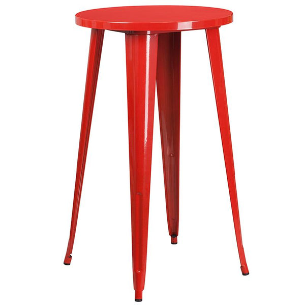 Flash Furniture 24'' Round Red Metal Indoor-Outdoor Bar Table Set with 2 Square Seat Backless Stools - CH-51080BH-2-30SQST-RED-GG