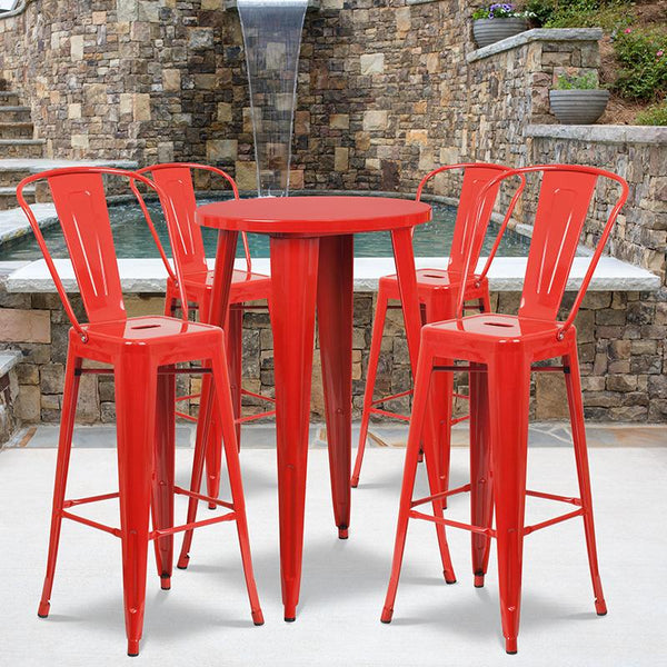 Flash Furniture 24'' Round Red Metal Indoor-Outdoor Bar Table Set with 4 Cafe Stools - CH-51080BH-4-30CAFE-RED-GG