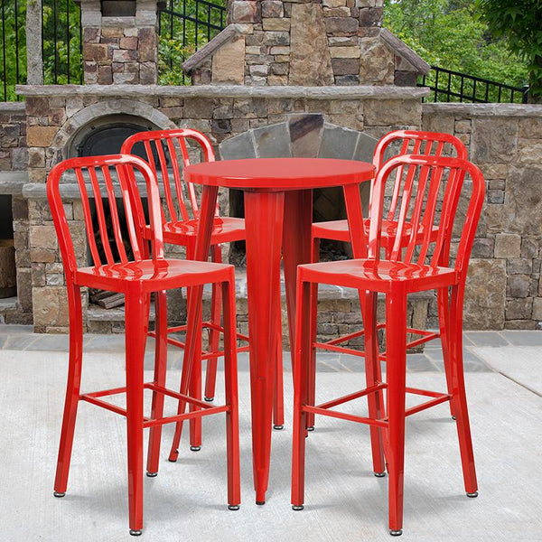 Flash Furniture 24'' Round Red Metal Indoor-Outdoor Bar Table Set with 4 Vertical Slat Back Stools - CH-51080BH-4-30VRT-RED-GG