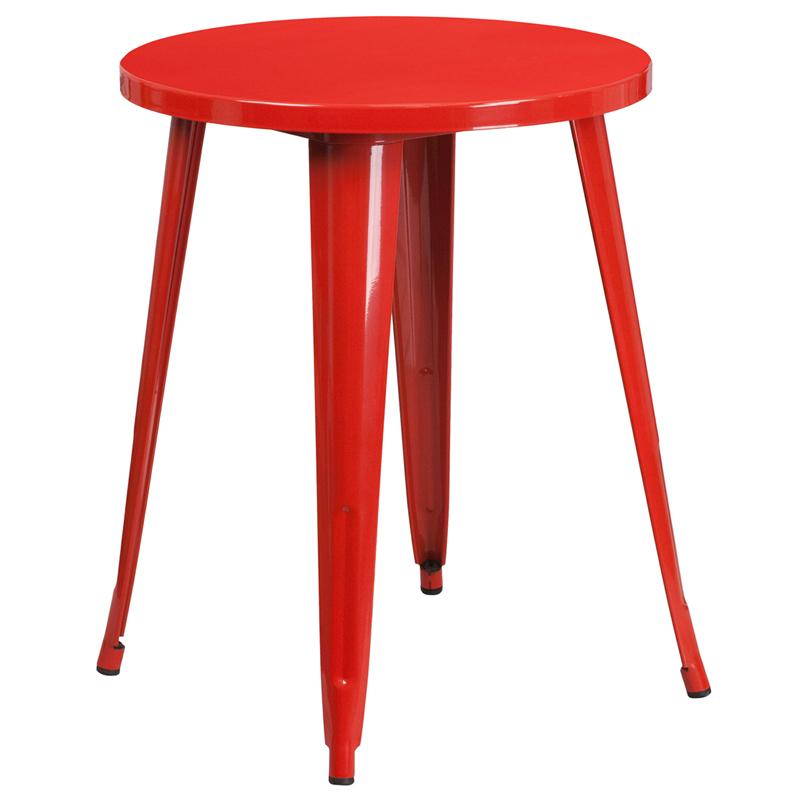 Flash Furniture 24'' Round Red Metal Indoor-Outdoor Table - CH-51080-29-RED-GG