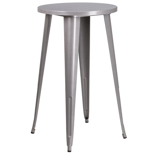 Flash Furniture 24'' Round Silver Metal Indoor-Outdoor Bar Height Table - CH-51080-40-SIL-GG