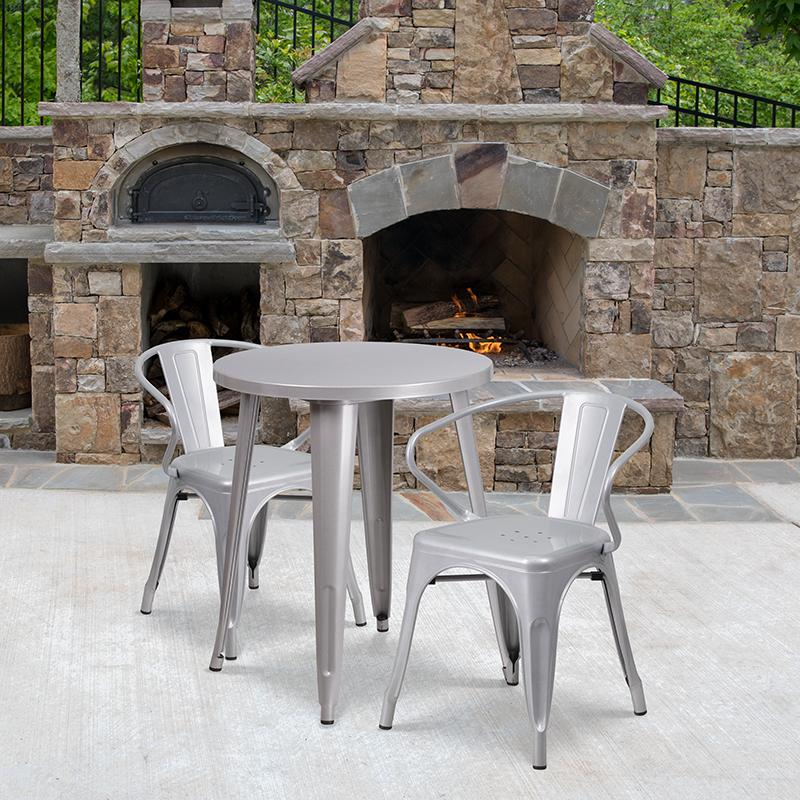 Flash Furniture 24'' Round Silver Metal Indoor-Outdoor Table Set with 2 Arm Chairs - CH-51080TH-2-18ARM-SIL-GG