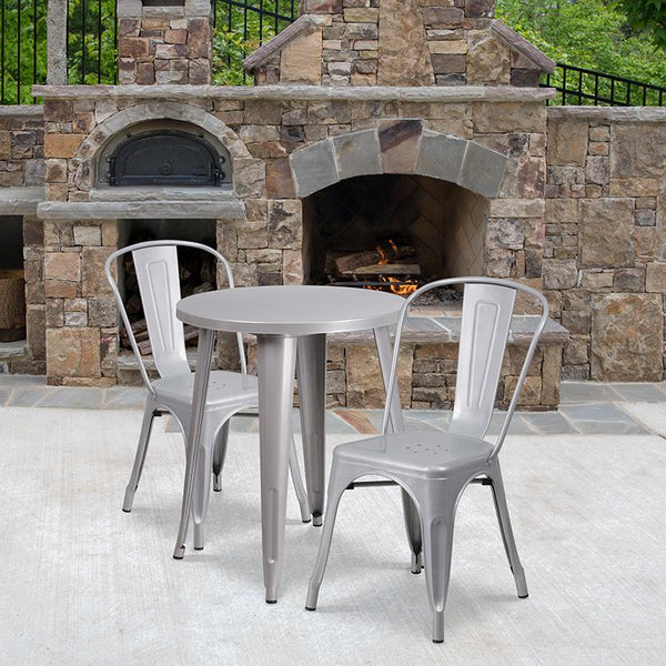 Flash Furniture 24'' Round Silver Metal Indoor-Outdoor Table Set with 2 Cafe Chairs - CH-51080TH-2-18CAFE-SIL-GG