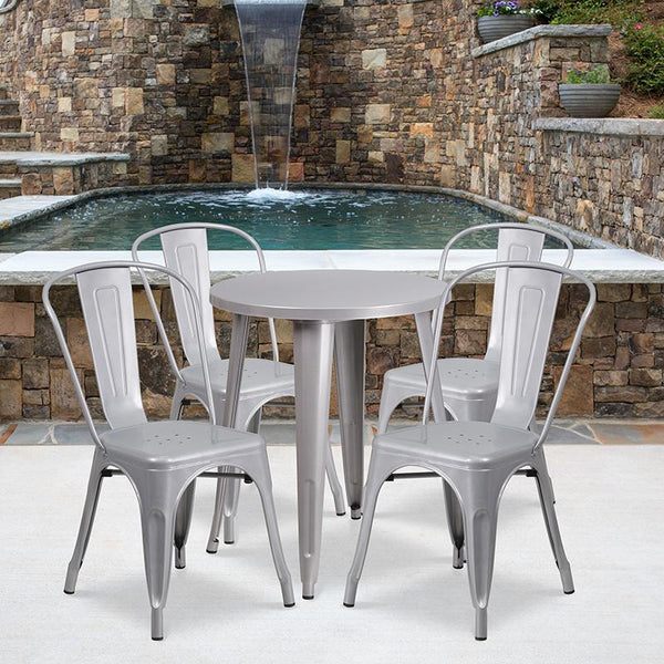 Flash Furniture 24'' Round Silver Metal Indoor-Outdoor Table Set with 4 Cafe Chairs - CH-51080TH-4-18CAFE-SIL-GG