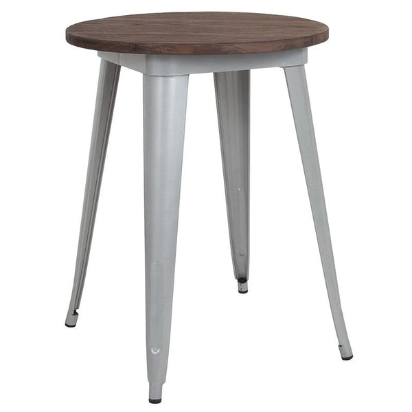 "Flash Furniture 24"" Round Silver Metal Indoor Table with Walnut Rustic Wood Top - CH-51080-29M1-SIL-GG"