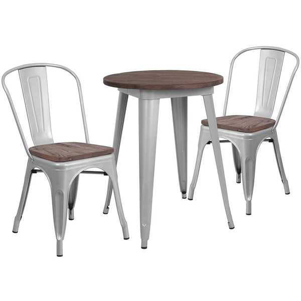 "Flash Furniture 24"" Round Silver Metal Table Set with Wood Top and 2 Stack Chairs - CH-WD-TBCH-7-GG"