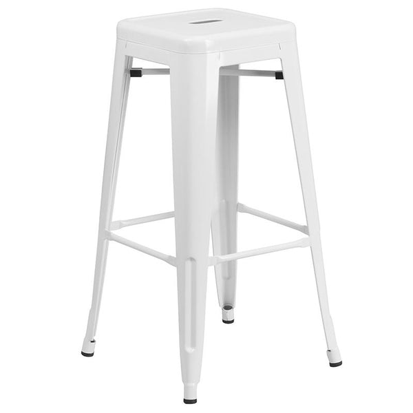 Flash Furniture 24'' Round White Metal Indoor-Outdoor Bar Table Set with 2 Square Seat Backless Stools - CH-51080BH-2-30SQST-WH-GG