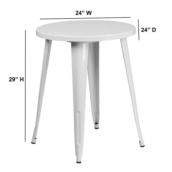 Flash Furniture 24'' Round White Metal Indoor-Outdoor Table - CH-51080-29-WH-GG