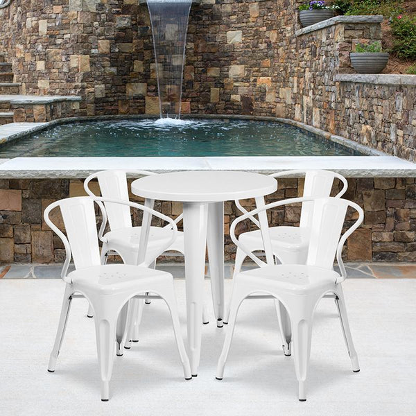 Flash Furniture 24'' Round White Metal Indoor-Outdoor Table Set with 4 Arm Chairs - CH-51080TH-4-18ARM-WH-GG