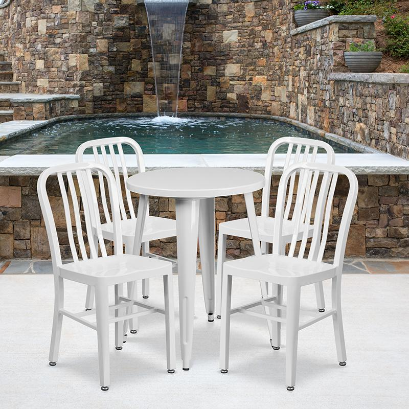 Flash Furniture 24'' Round White Metal Indoor-Outdoor Table Set with 4 Vertical Slat Back Chairs - CH-51080TH-4-18VRT-WH-GG