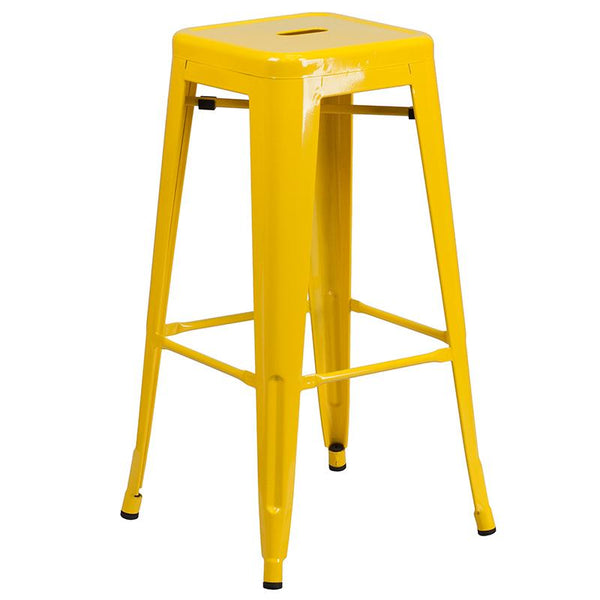 Flash Furniture 24'' Round Yellow Metal Indoor-Outdoor Bar Table Set with 2 Square Seat Backless Stools - CH-51080BH-2-30SQST-YL-GG