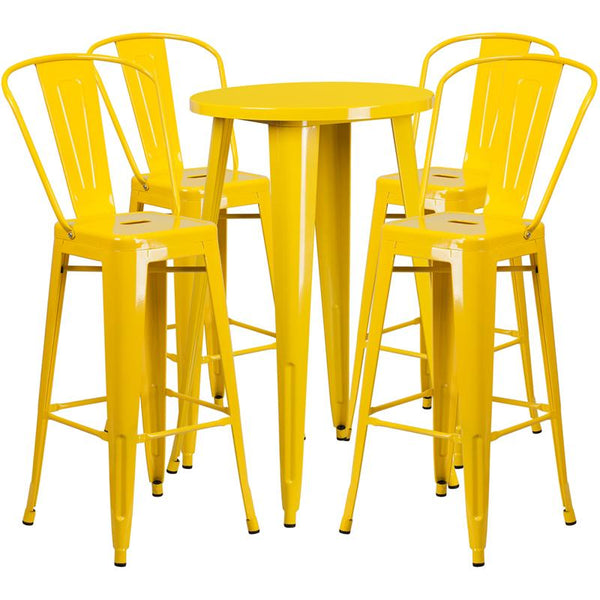 Flash Furniture 24'' Round Yellow Metal Indoor-Outdoor Bar Table Set with 4 Cafe Stools - CH-51080BH-4-30CAFE-YL-GG