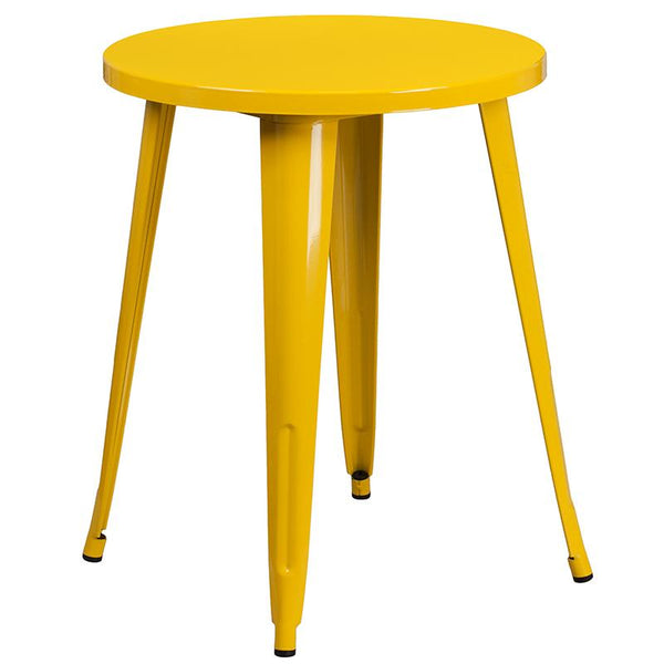 Flash Furniture 24'' Round Yellow Metal Indoor-Outdoor Table Set with 2 Cafe Chairs - CH-51080TH-2-18CAFE-YL-GG