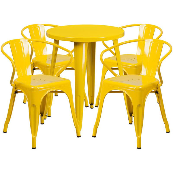 Flash Furniture 24'' Round Yellow Metal Indoor-Outdoor Table Set with 4 Arm Chairs - CH-51080TH-4-18ARM-YL-GG
