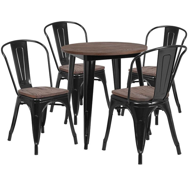 "Flash Furniture 26"" Round Black Metal Table Set with Wood Top and 4 Stack Chairs - CH-WD-TBCH-24-GG"
