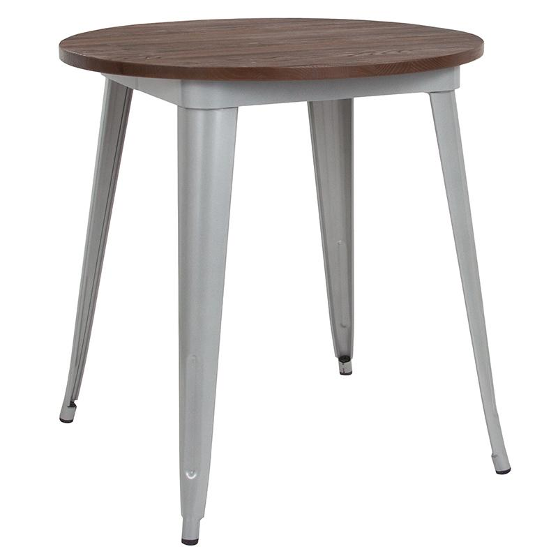 "Flash Furniture 26"" Round Silver Metal Indoor Table with Walnut Rustic Wood Top - CH-51090-29M1-SIL-GG"