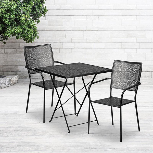 Flash Furniture 28'' Square Black Indoor-Outdoor Steel Folding Patio Table Set with 2 Square Back Chairs - CO-28SQF-02CHR2-BK-GG