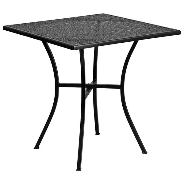 Flash Furniture 28'' Square Black Indoor-Outdoor Steel Patio Table Set with 4 Square Back Chairs - CO-28SQ-02CHR4-BK-GG