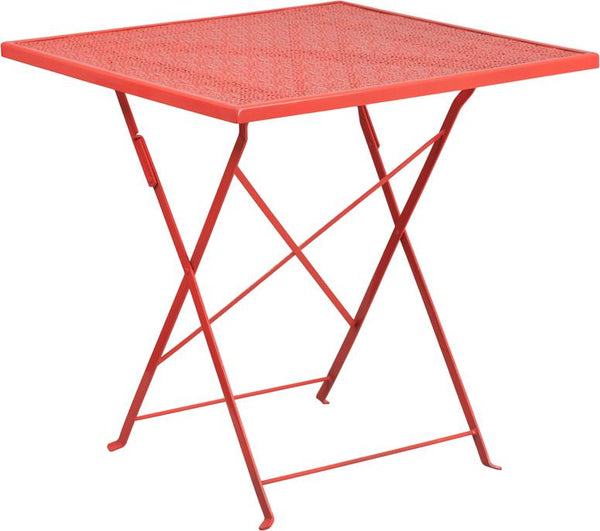 Flash Furniture 28'' Square Coral Indoor-Outdoor Steel Folding Patio Table - CO-1-RED-GG