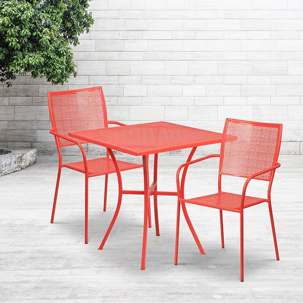 Flash Furniture 28'' Square Coral Indoor-Outdoor Steel Patio Table Set with 2 Square Back Chairs - CO-28SQ-02CHR2-RED-GG