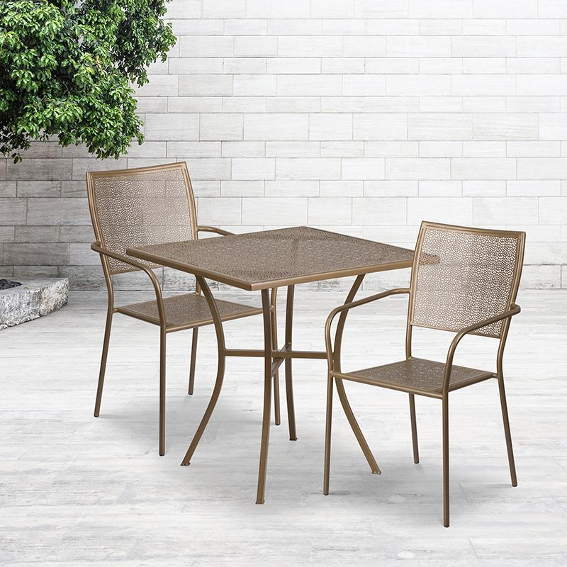 Flash Furniture 28'' Square Gold Indoor-Outdoor Steel Patio Table Set with 2 Square Back Chairs - CO-28SQ-02CHR2-GD-GG